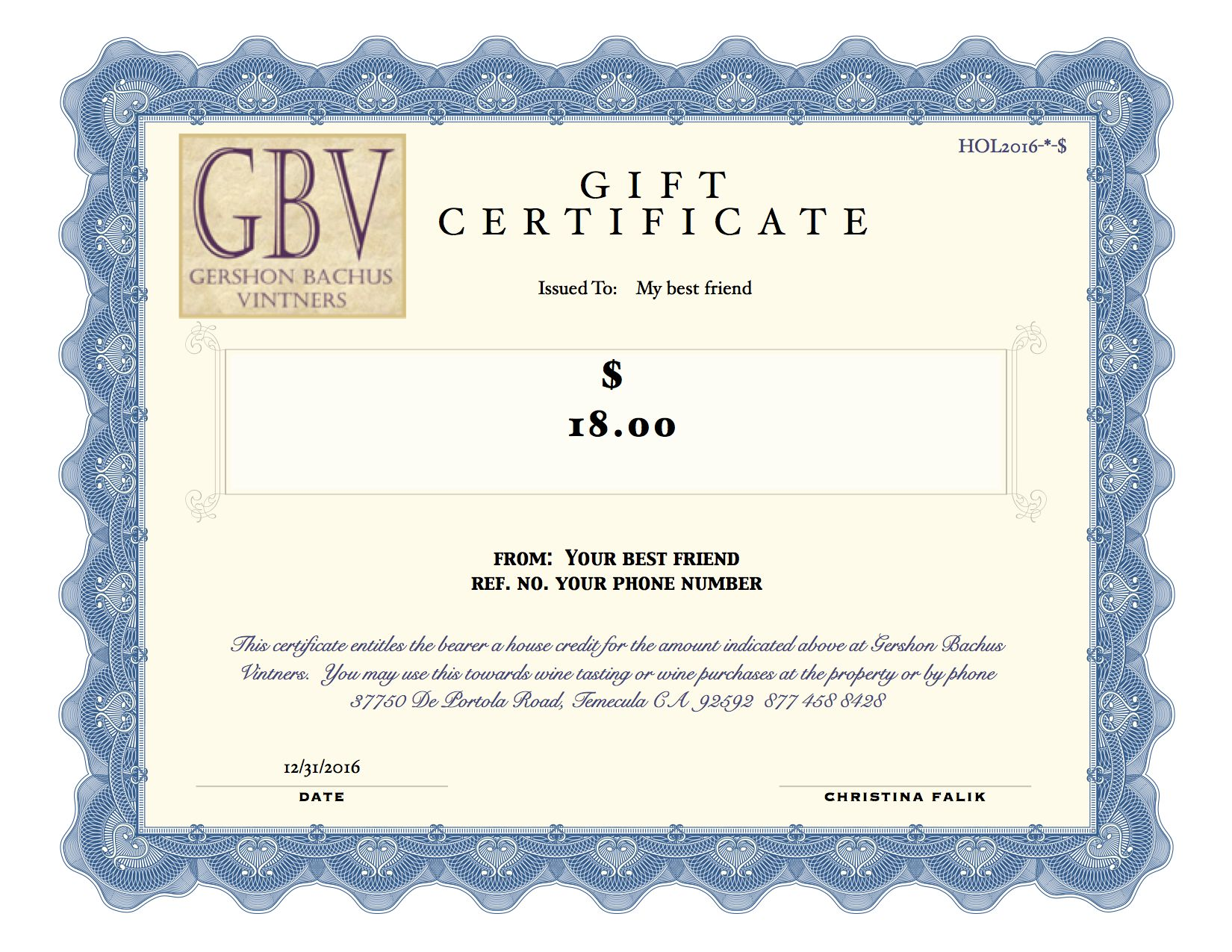 GIFT CERTIFICATE 2021